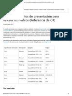Tabla de Formatos de Presentación Para Valores Numéricos