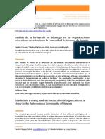 Analisis en la Formacion en liderazgo En las Organizaciones educativas