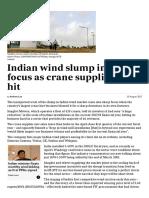 Indian Wind Slump in Sharp Focus as Crane Supplier Takes Hit