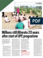Millions still illiterate 20 years after start of UPE programme