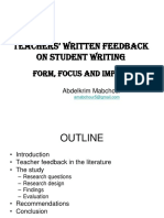 Teacher Written Feedback on Student Writing