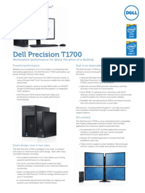 Dell Precision T1700 Spec Sheet Pre RTS | Intel | Dell
