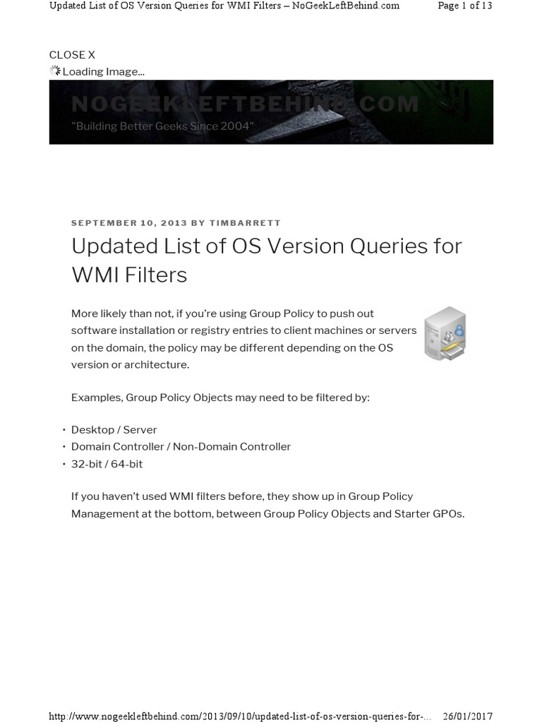 Updated List of OS Version Queries for WMI Filters