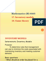 Inventory Models & Game Theory