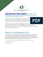 1100 Aluminum Plate Suppliers