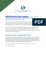 1050 Aluminum Plate Suppliers