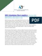 6063 Aluminium Sheet Suppliers