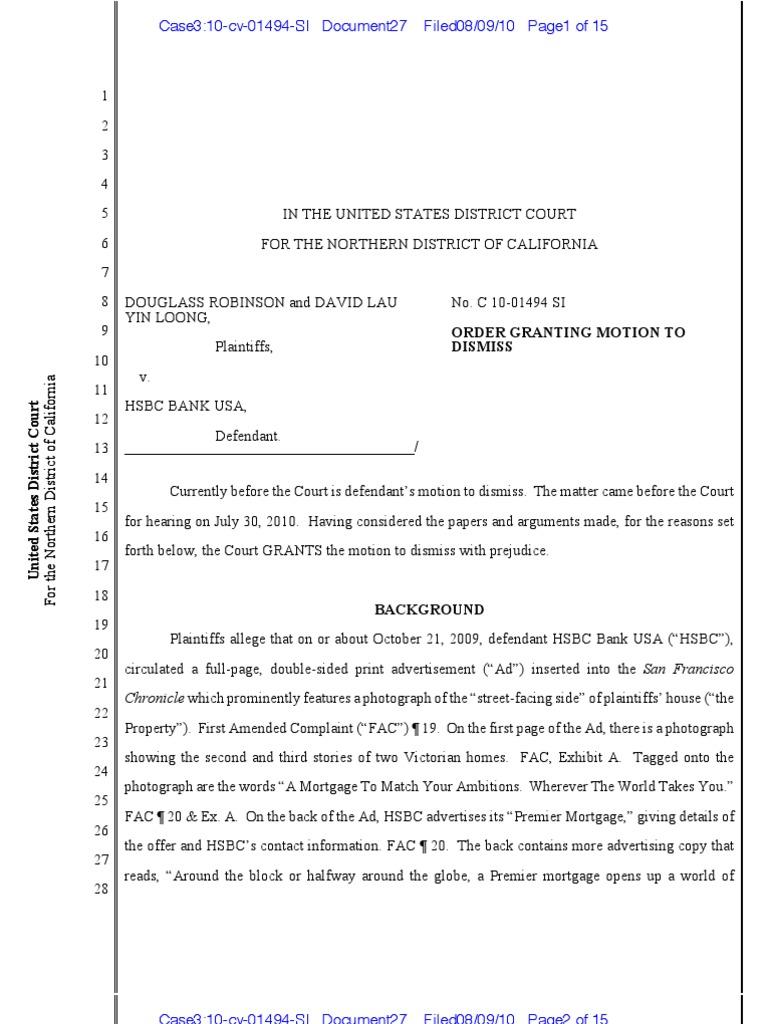 Robinson v HSBC Bank USA   Defamation   Copyright Law Of The
