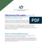7050 Aluminum Plate Suppliers
