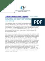 7050 Aluminum Sheet Suppliers