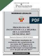 Aprueban resultados de evaluación del cumplimiento de las metas del Programa de Incentivos a la Mejora de la Gestión Municipal correspondientes al 31 de julio del año 2017
