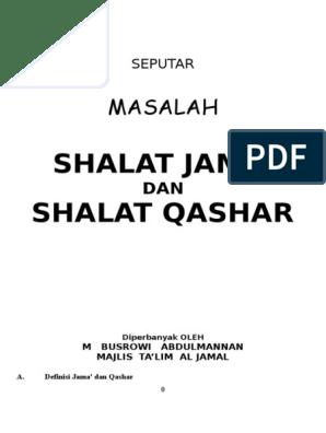 Buku Shalat Jama Dan Qashar 215 Hal