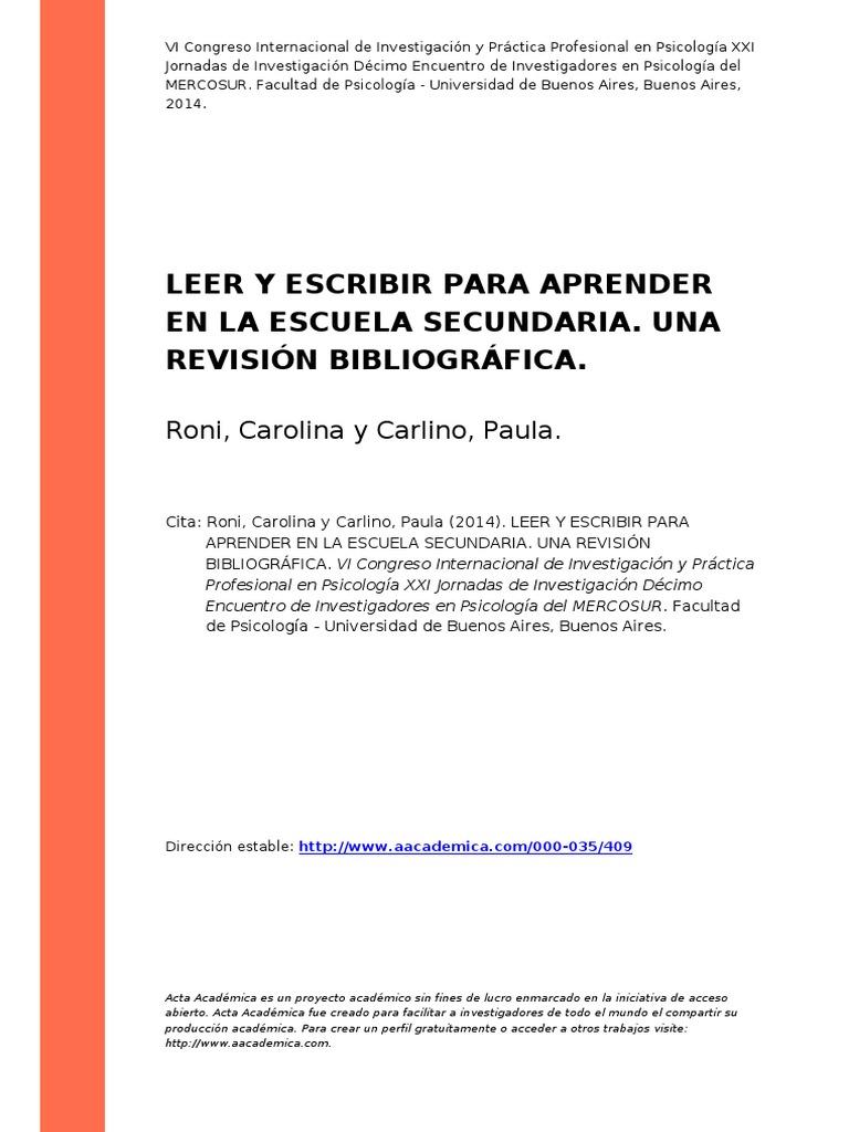Roni, Carolina;Carlino, Paula (2014). Leer y Escribir Para Aprender ...