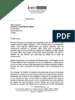 Carta del Senador Velasco por  inconformidades en la implementación de la Ley sobre Servicio Militar