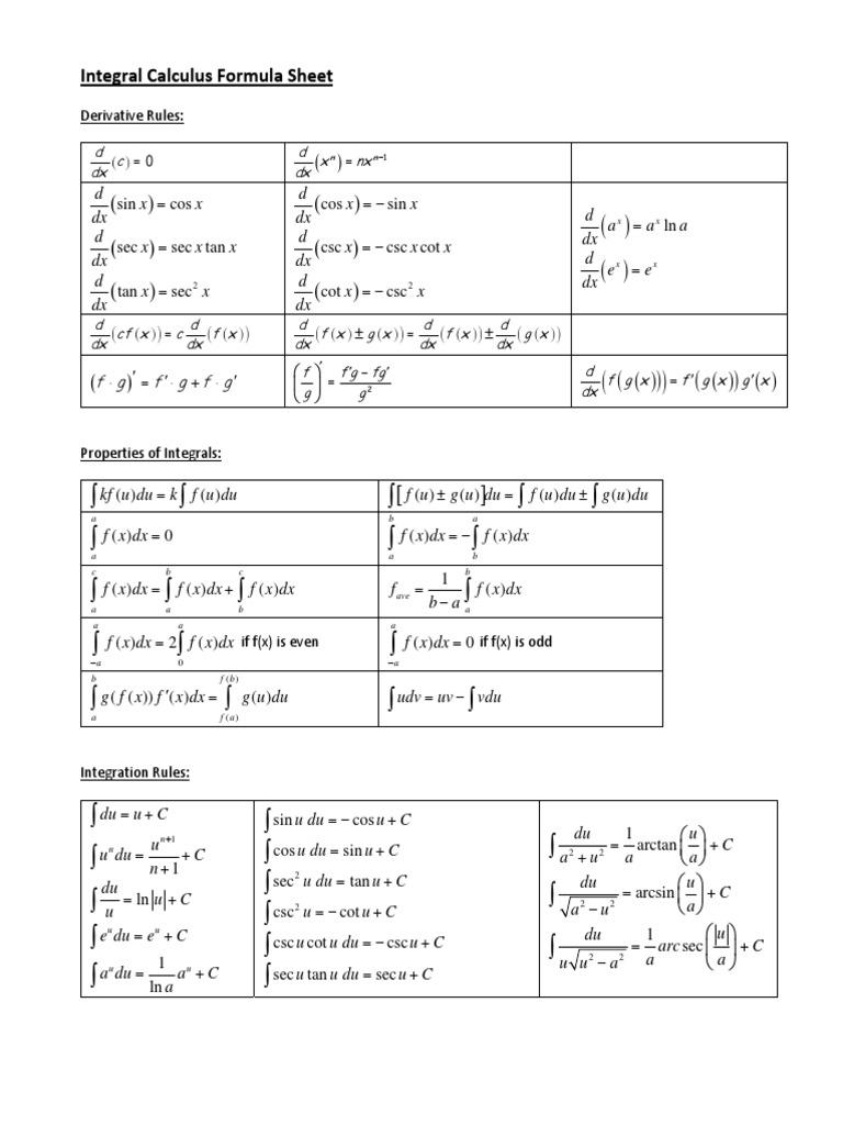 Integral Calculus Formula Sheet.pdf | Trigonometric ...