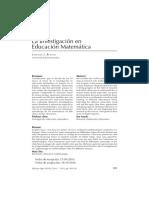 investigacion en educacion matemática