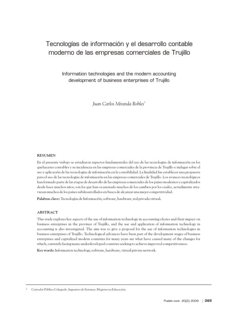 Tecnologías de Información y El Desarrollo Contable Moderno de Las ...