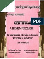 Certificado de Reposteria