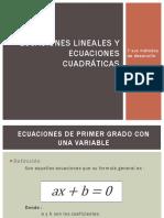 Ecuaciones Lineales y Ecuaciones Cuadráticas