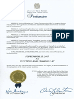 Governor Christy Issues Hunting and Fishing Day Proclamation 2017