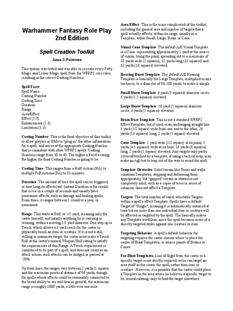 WFRP 2 - Spell Creation Rules (fan).pdf | Leisure | Nature