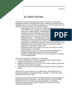 pisignage-datasheet | Raspberry Pi | Streaming Media