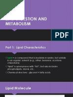 LIPID DIGESTION AND METABOLISM