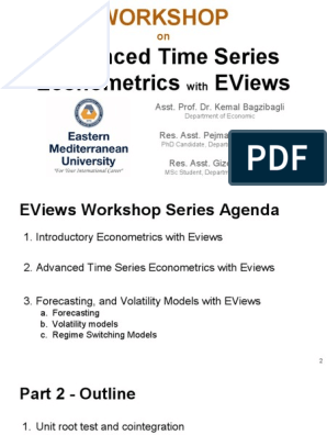 Workshop 4 - Part 2 - Advanced Time Series Econometrics With