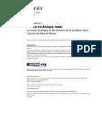 Le Fait Technique Total. La Raison Pratique Et La Raison de La Pratique Dans Loeuvre de Marcel Mauss (Terrain, 16)