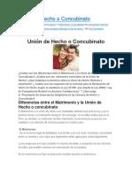 Unión de Hecho o Concubinato en Registros Publicos