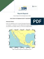 Reporte del SSN sobre el sismo del 19 de septiembre de 2017