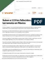 Suben a 119 los fallecidos por el terremoto en México - PULSO