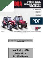 Mahindra ML114 Loader Manual