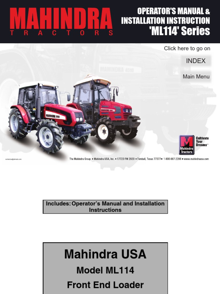 Mahindra ML114 Loader Manual | Loader (Equipment) | Tractor