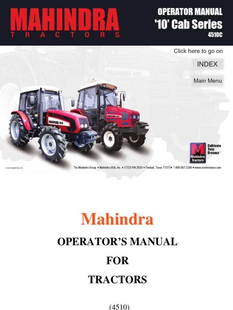 Mahindra Tractor 4510 Operator Manual   Tractor