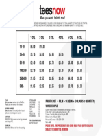 Screen Printing Price Chart - Teesnow Oakleigh South, Melbourne, Australia