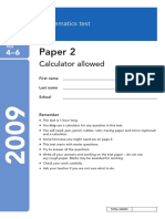 2009 KS3 Maths Level 4-6 Paper 2 Calculator Allowed