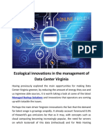 Ecological Innovations in the Management of Data Center Virginia