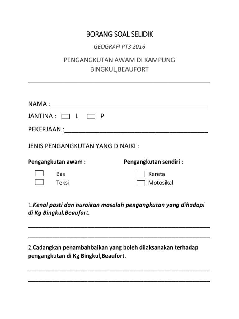 Borang Soal Selidik Docx