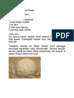 Resepi Vanilla Ice Cream