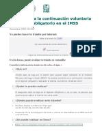 Inscripción a La Continuación Voluntaria Al Régimen Obligatorio en El IMSS