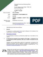 IWC September 2017 Full Council Meeting Agenda