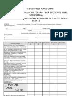 FICHA DE EVALUACION GRUPAL EN FORMACIONES Y ACTIVIDADES AREAS FCYC-PFRH-COMP- IE Nº 109 IMC UGEL O5 SJL-LIMA