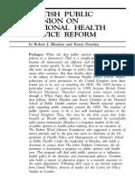 British Public Opinion on National Health Service Reform