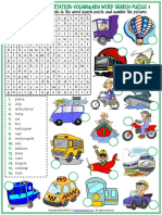 Means of Transportation Vocabulary Esl Word Search Puzzle Worksheets for Kids