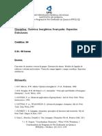 Ementa Química Inorgânica Avançada Aspectos Estruturais