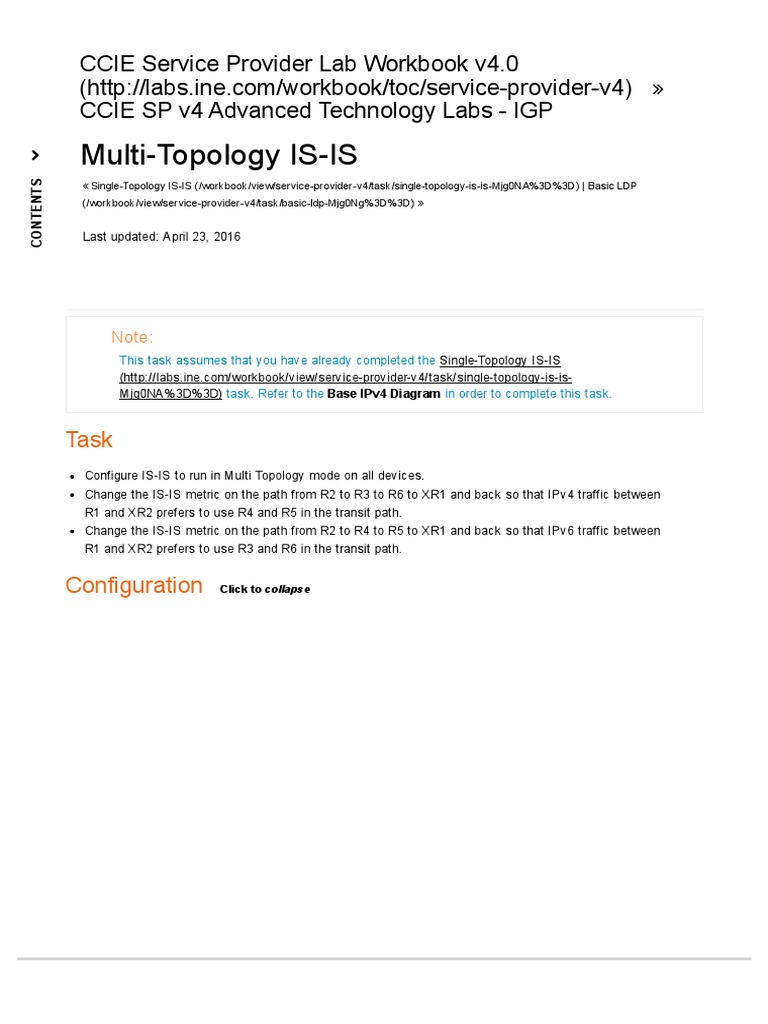 Workbooks ccie workbook : Multi Topology is Is