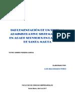 Implementación de Un Sistema Administrativo