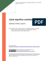 Iglesias Colillas, Ignacio (2014). Que Significa Analizaro