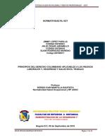 Principios Del Derecho Colombiano Aplicables a Los Riesgos Laborales y, Seguridad y Salud en El Trabajo